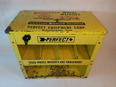Vintage Perfect Wheel Weight Gas Service Station Cabinet Display Shop Man Cave
