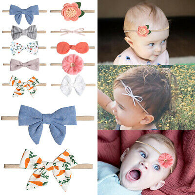 Baby Girls Kids Toddler Bow Knotted Hairband Headband Stretch Turban Head Wrap