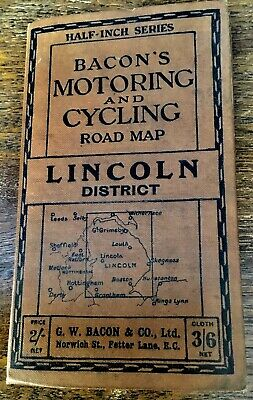 Vintage Bacons Motoring & Cycling Road Map Of Lincoln District