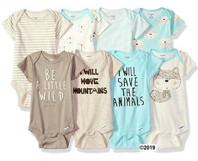 Gerber Baby Boys 8-Pack Fox Design Assorted Colors Onesies Size 3-6M ADORABLE!!!