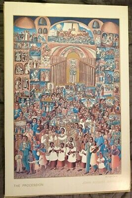 John August Swanson * The Procession * 1982 SIGNED Poster on Whiteboard 25 x 38