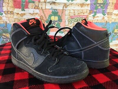 2025b026 NIKE DUNK HIGH Tops Black and Red Men's Shoes Swoosh Great Condition ...