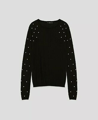 358e129d9ff ZARA KNIT BLACK jumper with pearl sleeves size Small