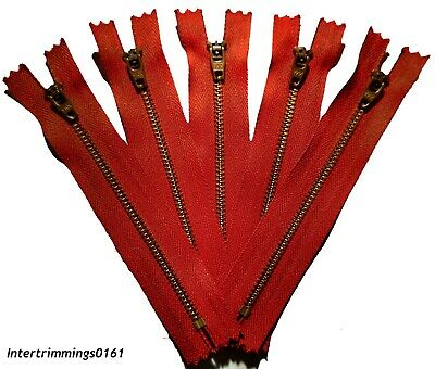 """Ykk Jean Zips, Brass, Closed End X5,  (5"""", 5.5"""" & 7"""") Red, No 4, Free P&P"""