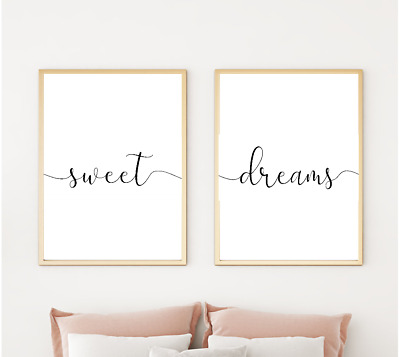 Sweet dreams Bedroom Prints Family Home Quotes - Home gifts A4