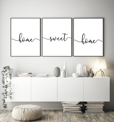 Home wall art Set of 3 - Home sweet home - typography prints - home gift a4