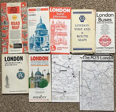 Lot of 9 Old London Transport Maps / Booklets Buses RAC AA Road Maps Tourist