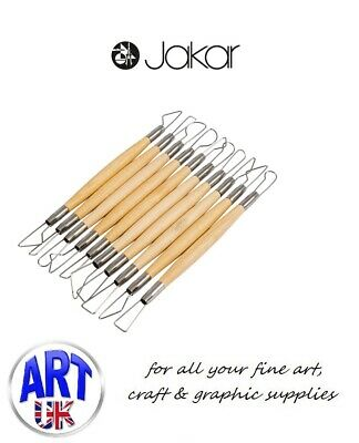 "Jakar Wooden Clay Pottery Modelling Tool Kit 6"" Wire Double Ended Set"