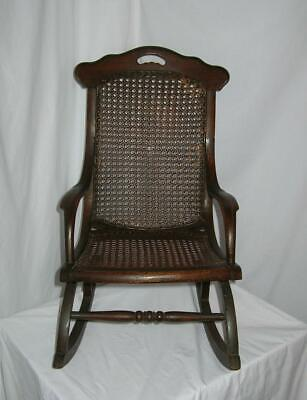 Vtg Antique CHILDs CANE and SOLID WOOD Small  ROCKING CHAIR  Beautiful! RARE