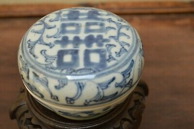 Ancient Chinese Antique Qing Dynasty Ink Paste Box, Blue and White Porcelain