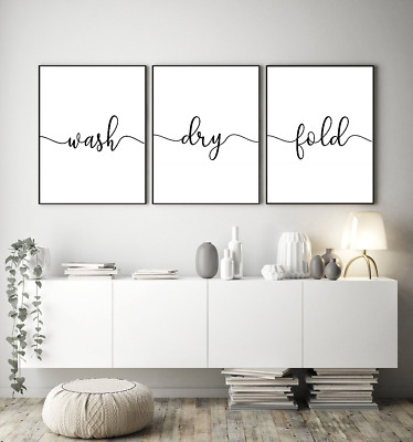 Wash dry fold prints - Home wall art Set of 3 typography prints - home gifts a4