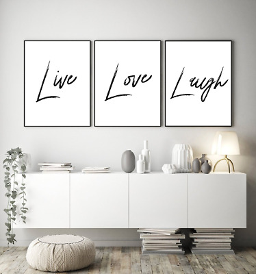 Home wall art Set of 3 typography prints - LIVE LOVE LAUGH - home gifts A4