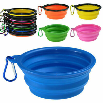 Folding Pet Dog Silicone Travel Feeding Bowl Collapsible Food Water Dish Feeder