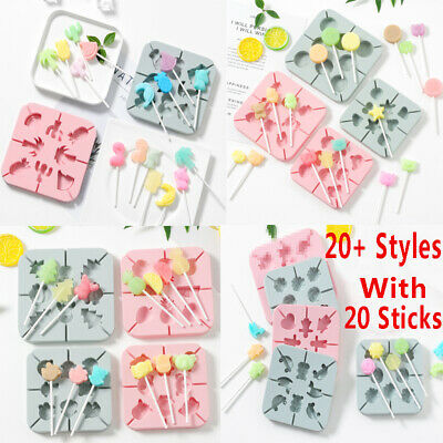 Silicone Lollipop Mould Tray Candy Pop Lollypop Chocolate Baking Mold + Sticks