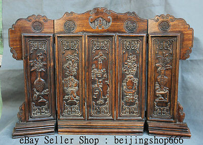 "25"" Old Chinese Huang Hua Li Wood Dynasty Palace Carving Flower Vase Fold Screen"