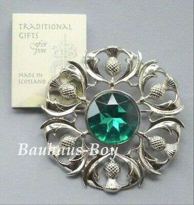 Art Pewter PLAID BROOCH MULTI THISTLE FAUX EMERALD GREEN STONE MADE IN SCOTLAND