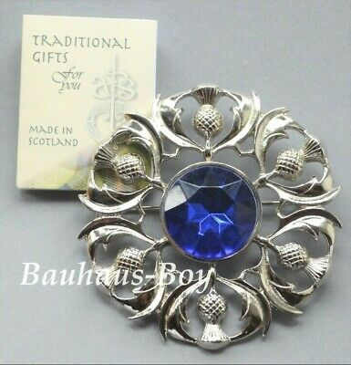 Art Pewter PLAID BROOCH MULTI THISTLE FAUX SAPPHIRE BLUE STONE MADE IN SCOTLAND