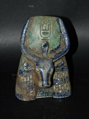 ANCIENT EGYPTIAN ANTIQUES  Statue Hathor Cow GODDESS Blue Glazed Stone BC