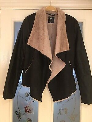 Ladies Girls Clothes Size 6 Primark Atmosphere Faux Leather Jacket Coat (239)