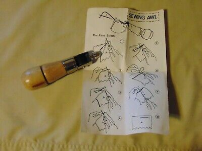 Vintage wood handled sewing awl w instructions