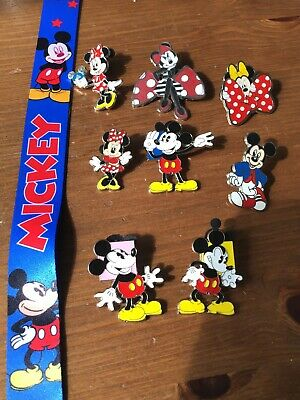 8 Mixed Mickey & Minnie Mouse Disney Trading Pins And Lanyard (#119)