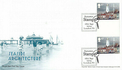 (33359) GB FDC Seaside Architecture Southwold GUTTER PAIR STAMPEX London 2014