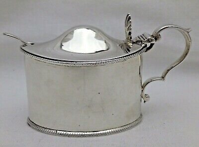 Large Antique Solid Sterling Silver Mustard Pot - Blue Liner & Spoon London 1879