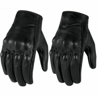 3XL Motorcycle New Premium Leather Black Perforated Gloves