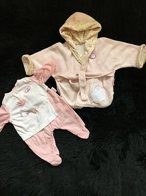 """Baby Annabell Dolls Clothes,Sheep Sleep Suit & Dressing Gown Outfit .,,18""""Zapf"""