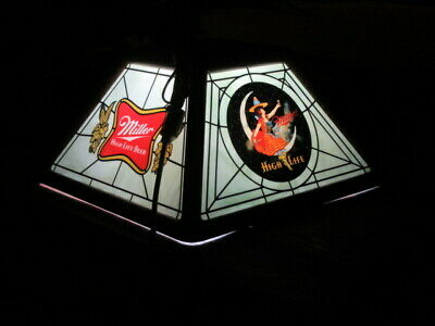 Miller Beer Sign Old Man Cave Pub Poker Table Light W/ Girl On The Moon Vtg L@@K