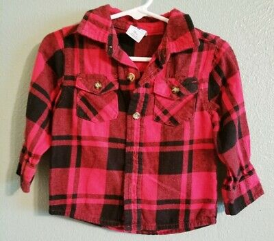 HEALTHTEX Boys 18 Months Red/Black Checked Dressy/Casual Shirt ~ Very Nice!