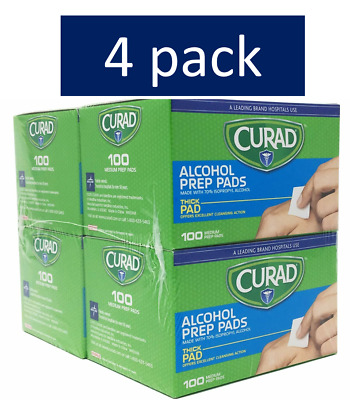 4pk Curad Alcohol Medium Prep Pads Thick Alcohol Swabs 100ct each (400 total) h2