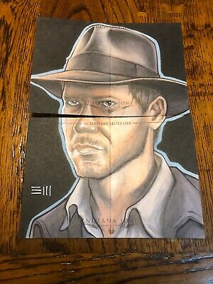 Indiana Jones Masterpieces (topps) Dual X2 Panoramic Sketch By Erik Maell /20