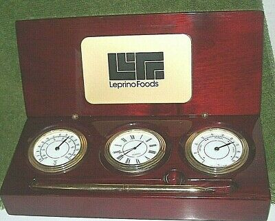 Clock,Thermometer & Hygrometer,gold-tone pen Weather Station,Polished Wood Case