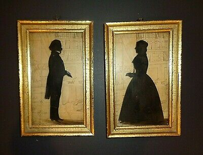 Vintage Set Borghese Silhouettes Lemon Water Gilded Gold Frame Man Lady Library
