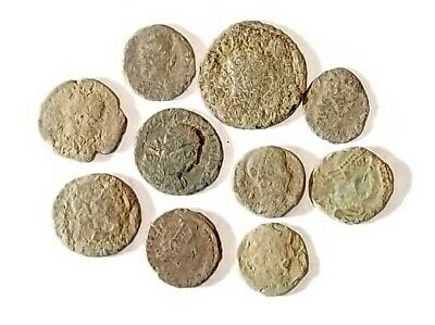 10 ANCIENT ROMAN COINS AE3 - Uncleaned and As Found! - Unique Lot 19744