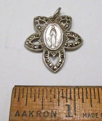 Lovely Vintage 1950s Miraculous Medal Catholic Sterling Silver Marcasite Pendant