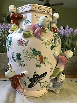 Vintage Chinese Fertility Vase with Flowers, Butterflies, Climbing Children Boys
