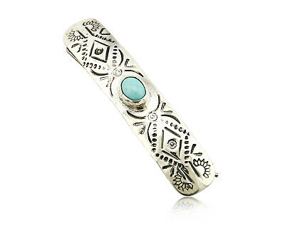 C1990s Navajo Natural Turquoise Heavy Hand Stamped 925 Silver Handmade Hair Clip