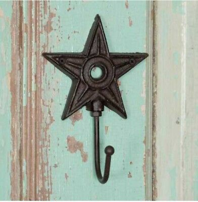 NEW!! Country SET OF 4 Architectural Cast Iron Star Hooks Western Rustic