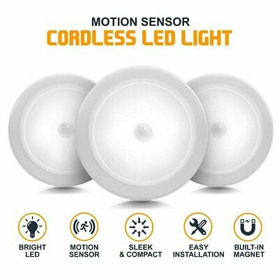 6X 6LED Motion Sensor Night Light Indoor Outdoor Battery Operated Stairs Hallway