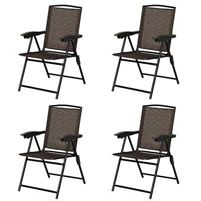 Awesome Set Of 4 Folding Sling Chairs Steel Armrest Patio Garden Machost Co Dining Chair Design Ideas Machostcouk