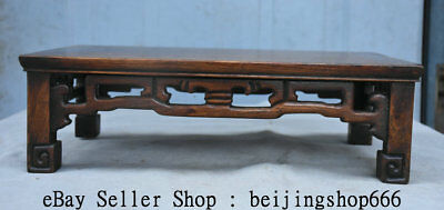 "14"" Old Chinese Huanghuali Wood Hand Carved Natural Lines Table Desk Furniture"