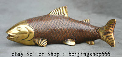"""10.8"""" Old Chinese Copper Gilt Feng Shui Fish Goldfish Barracuda Lucky Sculpture"""