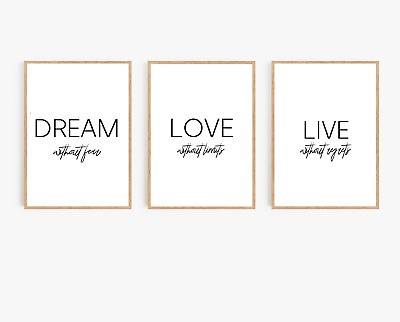 Home wall art Set of 3 typography prints - Dream without limits - home gifts A4