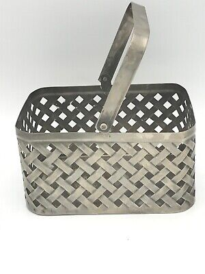 Vintage Stainless Steel Basket 6x4x3in