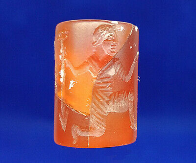 Near Eastern Agate Intaglio Human Spear Deer Rolling Stamp Tube Bead  BCB88