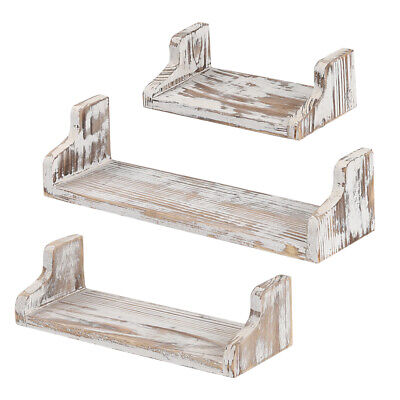 Vintage Floating Shelves Wall Mounted Rustic Wood Wall Organizer - 3 Pack