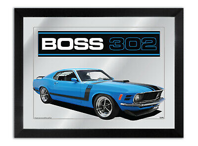 Bar Mirror Artwork Suit Red 1970 Ford Boss 302 Mustang Enthusiast