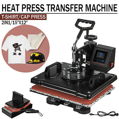 12x15'' LED Heat Press Machine 2 in 1 Transfer Sublimation T-Shirt Hat Plate